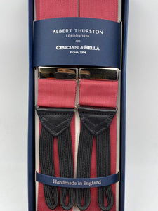 Albert Thurston for Cruciani & Bella Made in England Adjustable Sizing 40 mm Woven Barathea Dark Pink braces Braid ends Y-Shaped Nickel Fittings Size: XL #4979