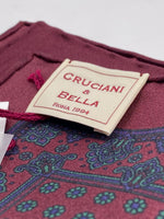 Cruciani & Bella 100% Printed Silk  Hand-rolled Wine, Blue and Green Floral Motif Pocket Square Handmade in England 32 cm  X 32 cm #4543