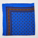 Cruciani & Bella 100% Printed Silk  Hand-rolled Light Blue and Brown Floral Motif Pocket Square Handmade in England 32 cm  X 32 cm #4539