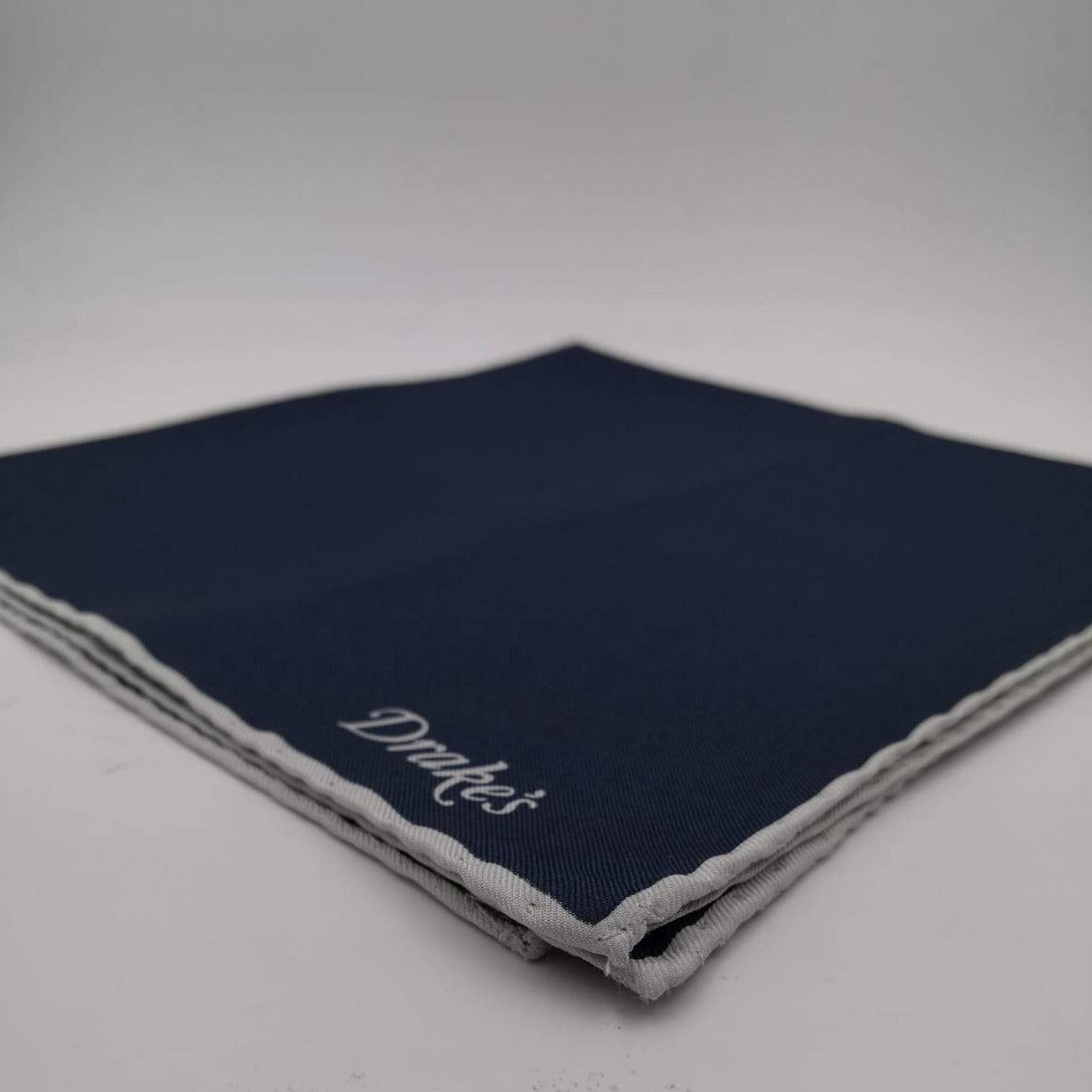 Drake's 100%Silk Hand-rolled Blue -  Pocket Square Handmade in Italy 41 cm X 41cm #0520