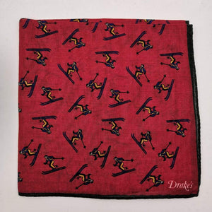 Drake's Printed 70% Wool 30%Silk Hand-rolled Green Multicolor - Dinos  Motif Pocket Square Handmade in Italy 43 cm X 43cm #2599