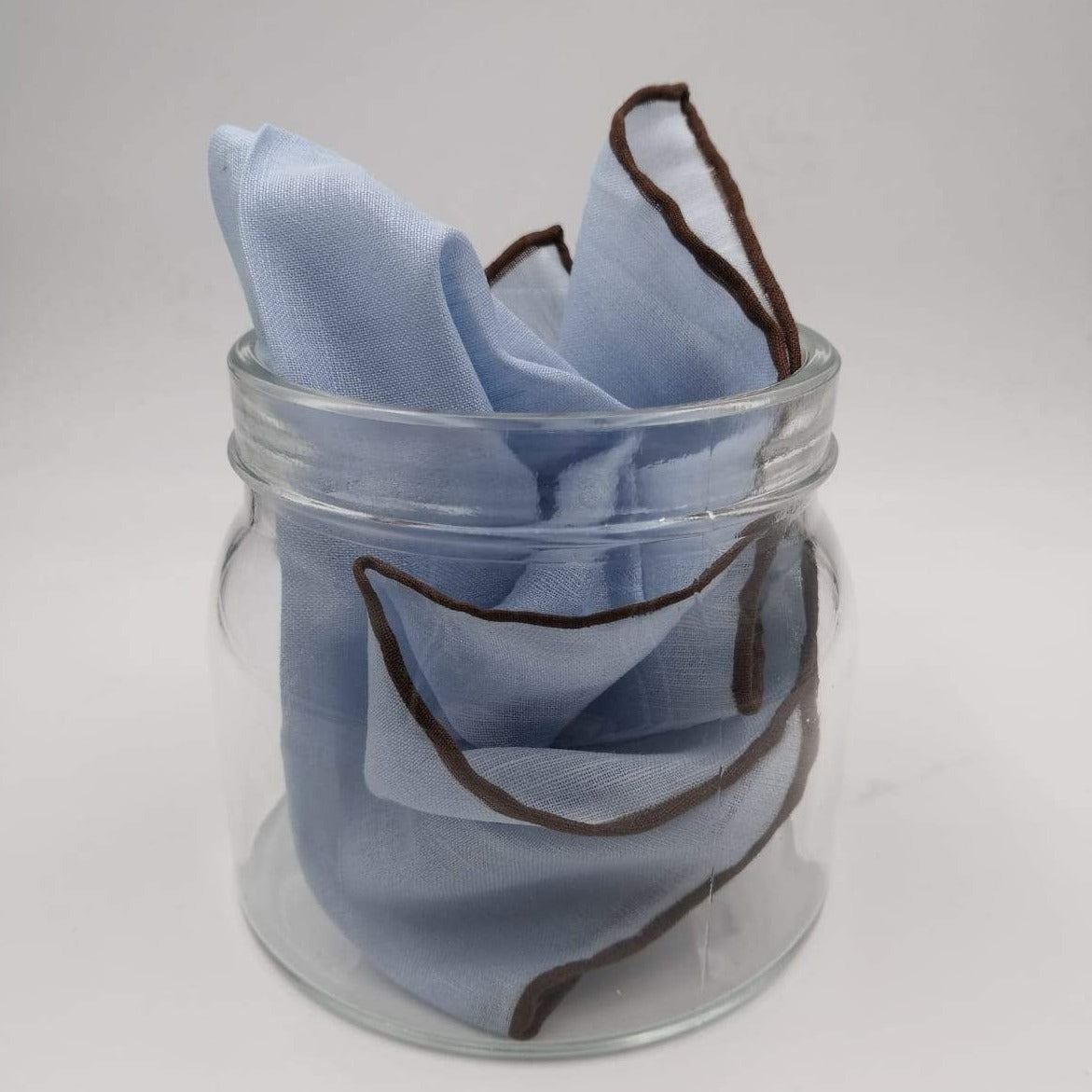 Cruciani & Bella 60%Linen  40% Cotton Hand-rolled  -  Pocket Square Light Blue and Brown Handmade in Italy 39 cm X 39cm #4557