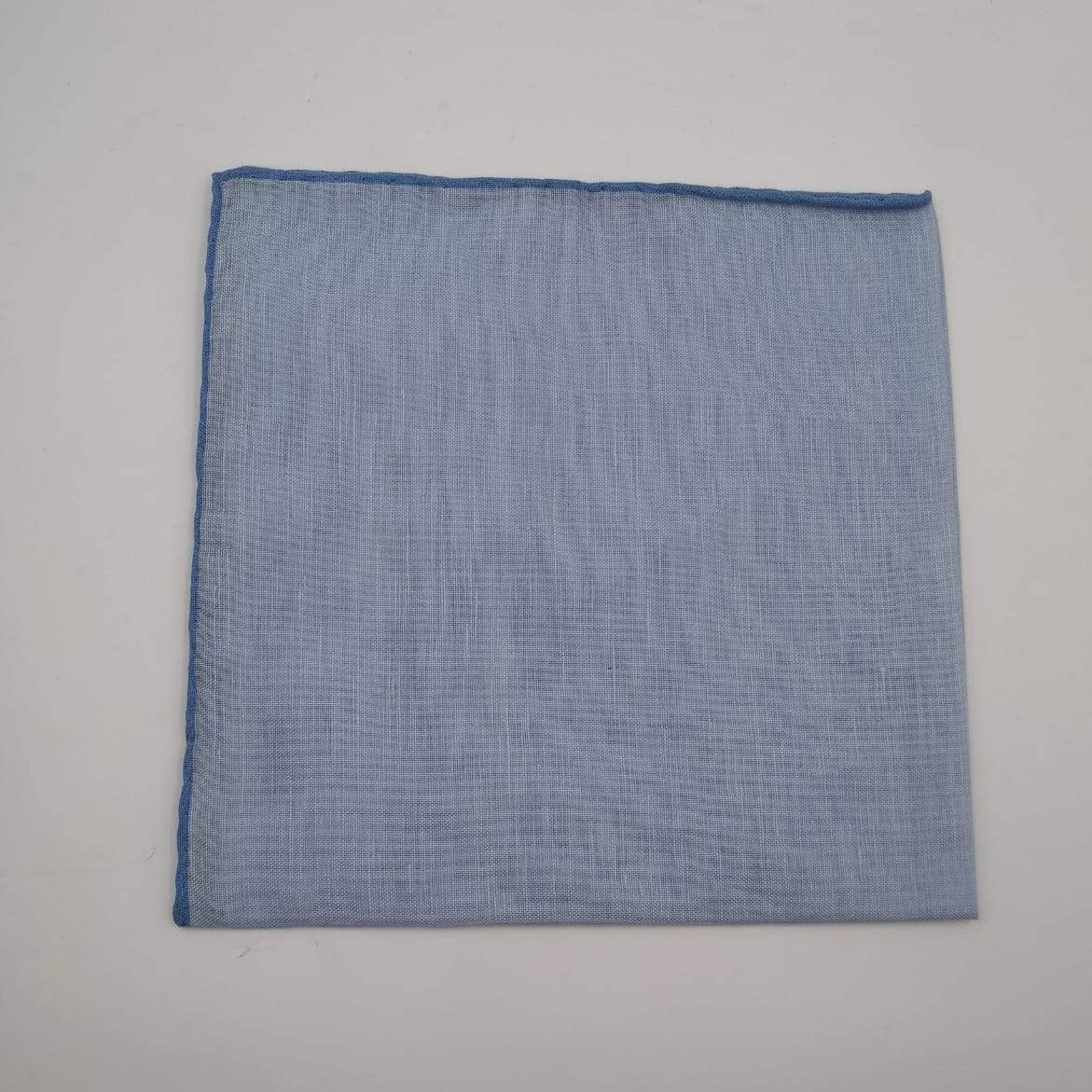 Cruciani & Bella 60%Linen 40% Cotton Hand-rolled  -  Pocket Square Light Blue  Handmade in Italy 39 cm X 39cm #4562