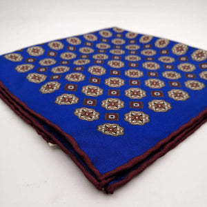 Cruciani & Bella 100% Silk Hand-rolled   Royal Blue and Brown Patterned  Motif  Pocket Square Handmade in Italy 39 cm X 39cm #4469
