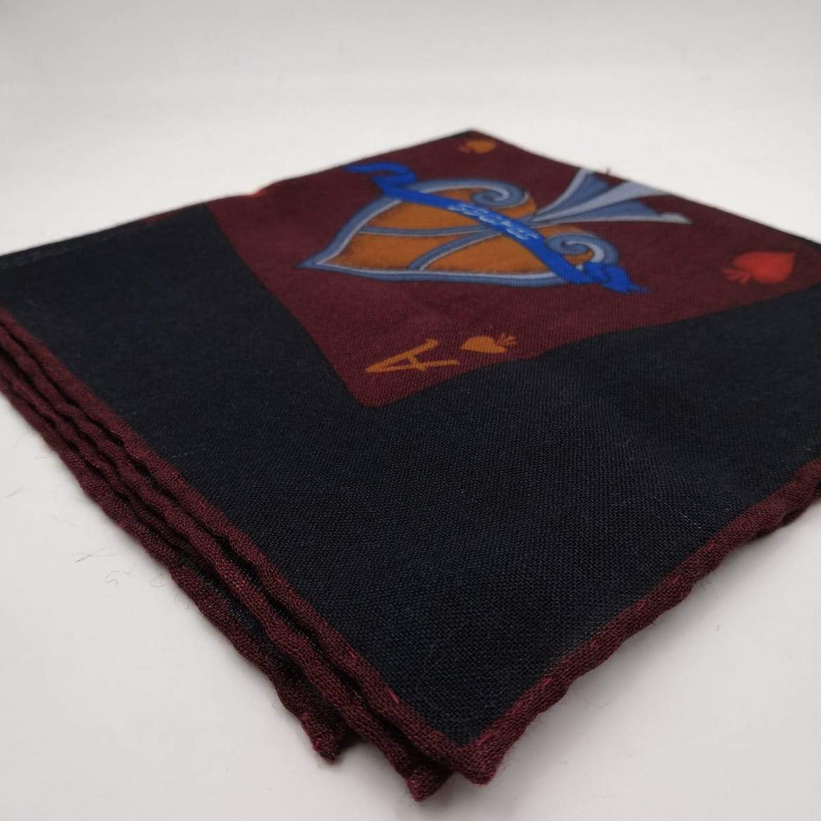 Cruciani & Bella 100% Wool Hand-rolled  Dark Blue and Burgundy Playing Card  Motif  Pocket Square Handmade in Italy 39 cm X 39cm #2623
