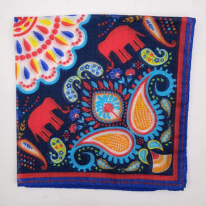 Cruciani & Bella 100% Cotton Hand-rolled  Red ,White and Multicolor Elephant  Motif  Pocket Square Handmade in Italy 33cm X 33cm #0724