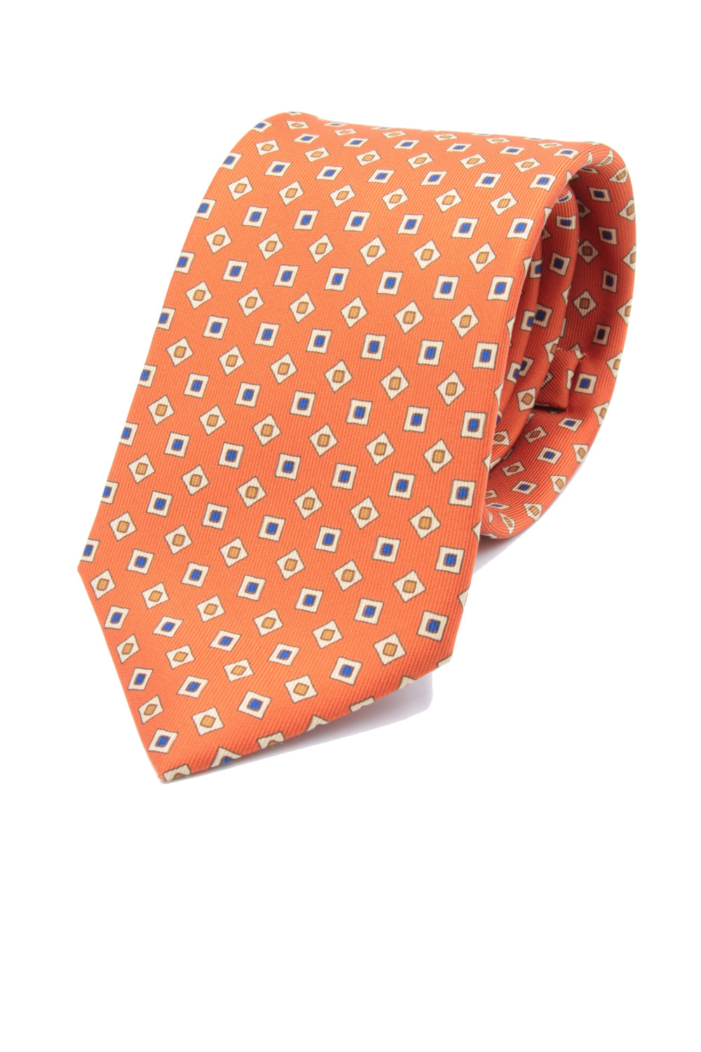 drake's Orange, blue, mustard and beige micro print tie