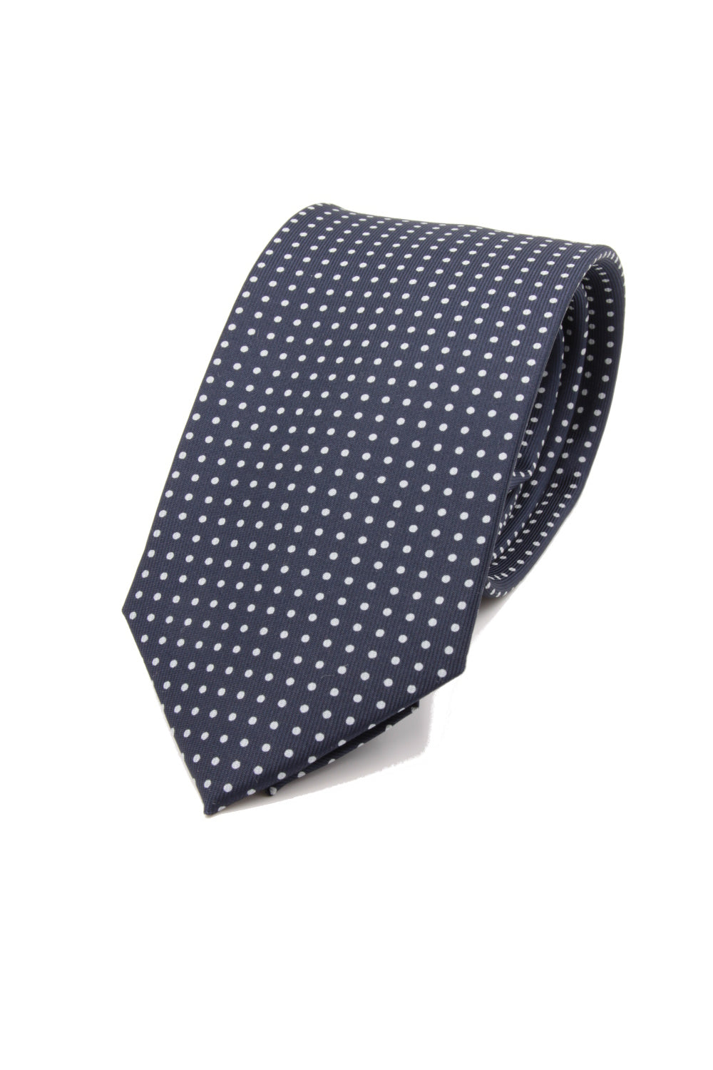 drake's Navy blue white dots tie