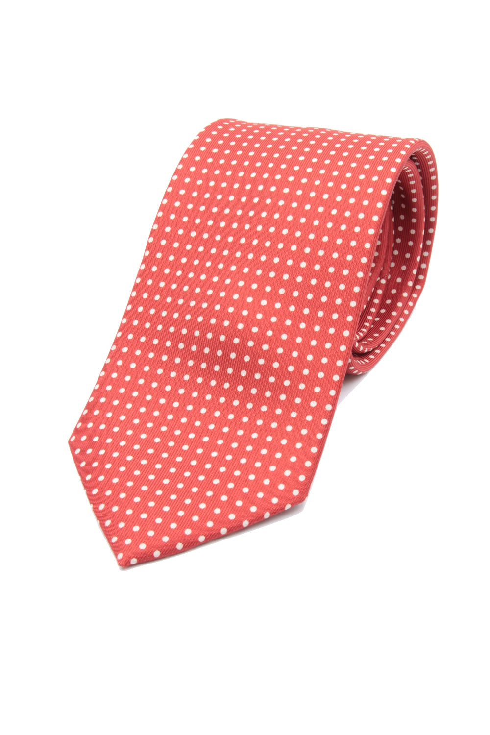 drake's Light red and white dot tie