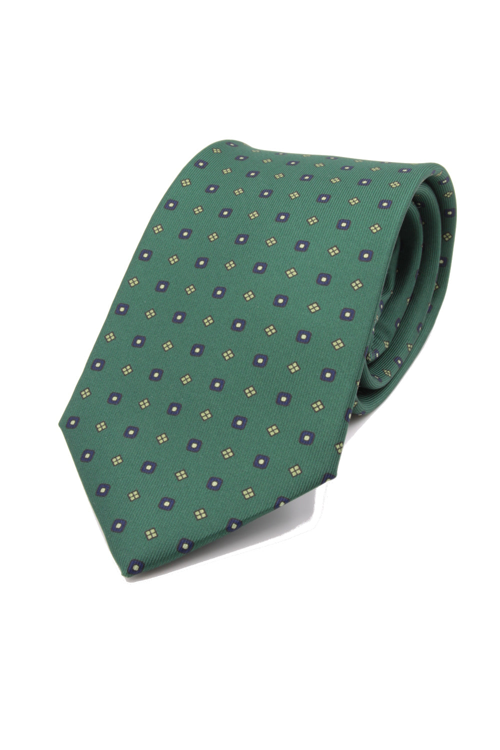 drake's Light green, small navy and green medallion tie