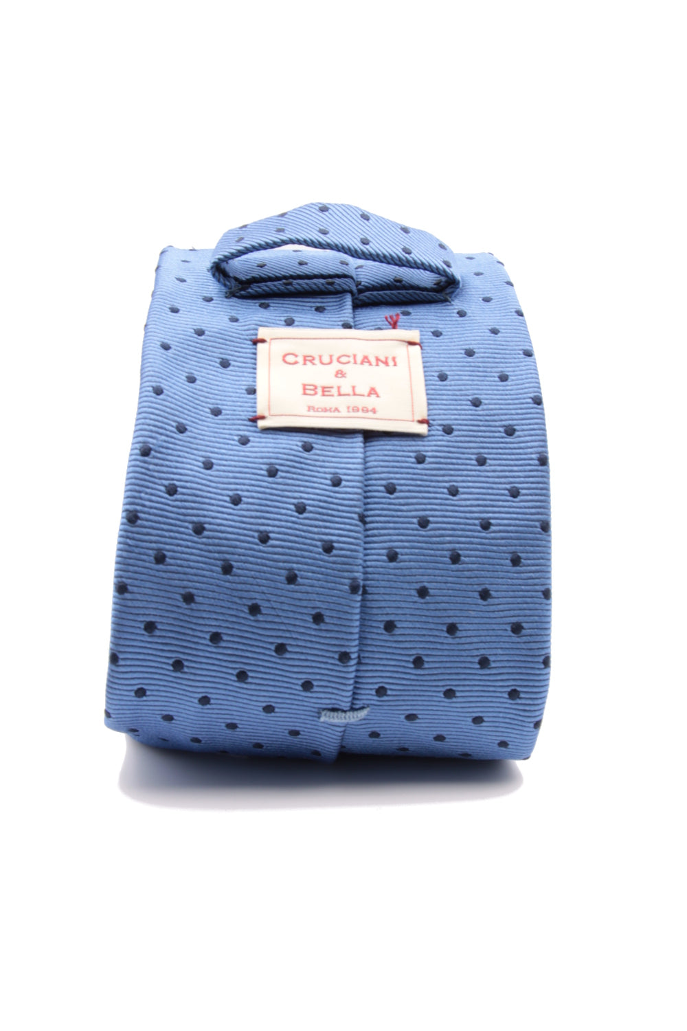 Light blue and navy blue spot tie