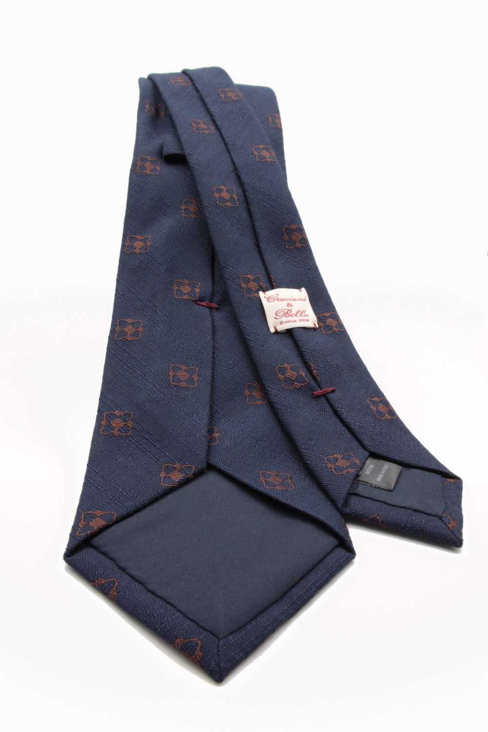 Navy blue, brown flower tie