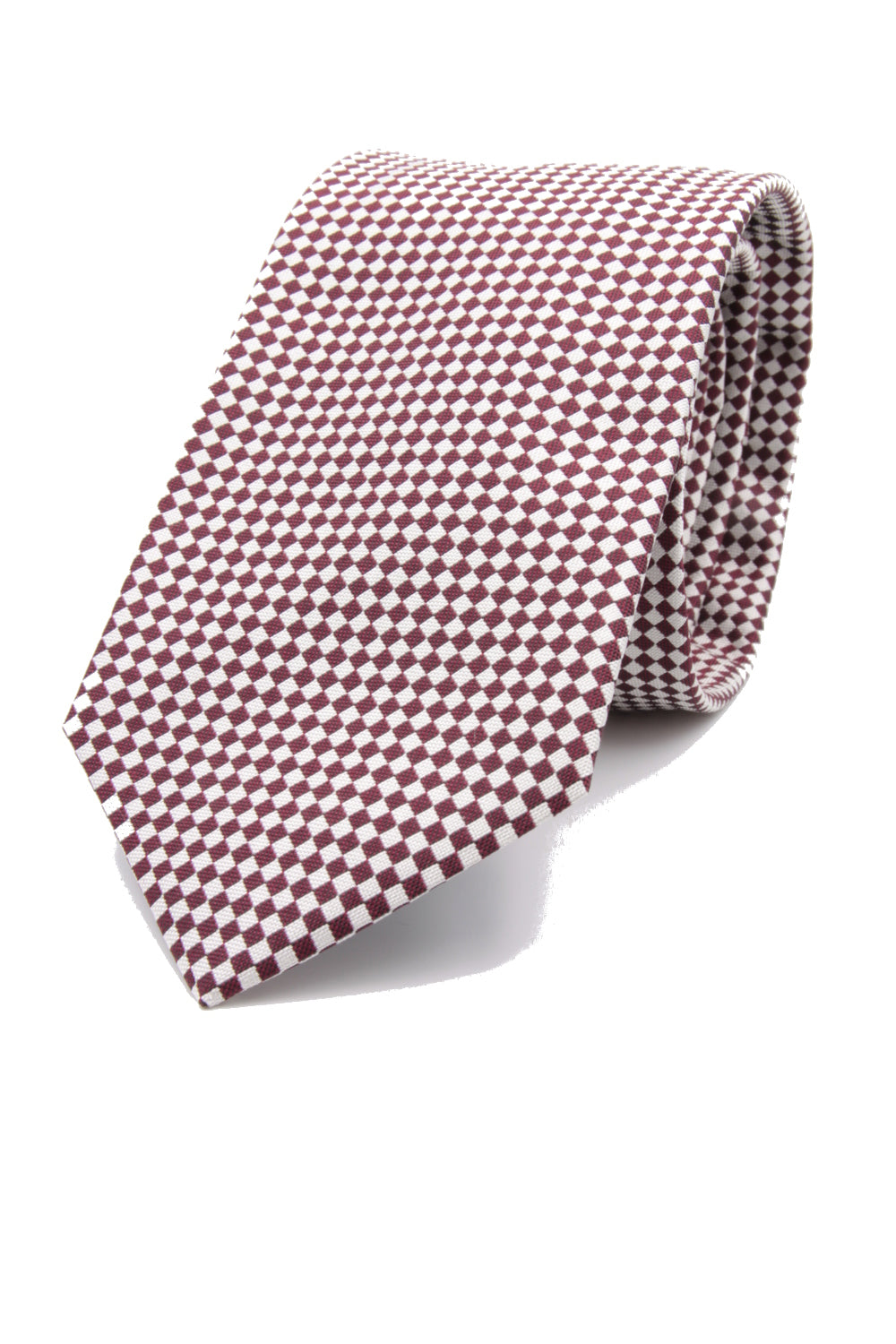 drake's Burgundy and white optical tie