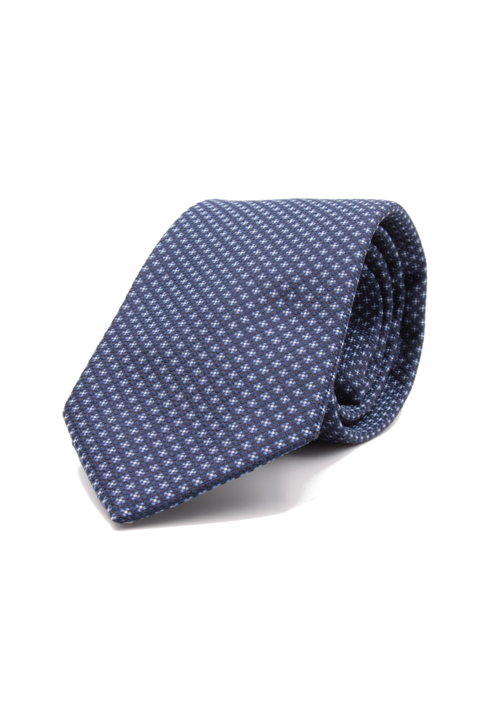 Navy blue, small light blue and white flower tie