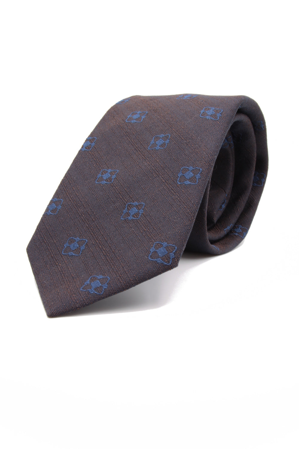 Brown, navy blue flower tie