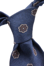 Royal blue, brown, grey and navy floral spot tie