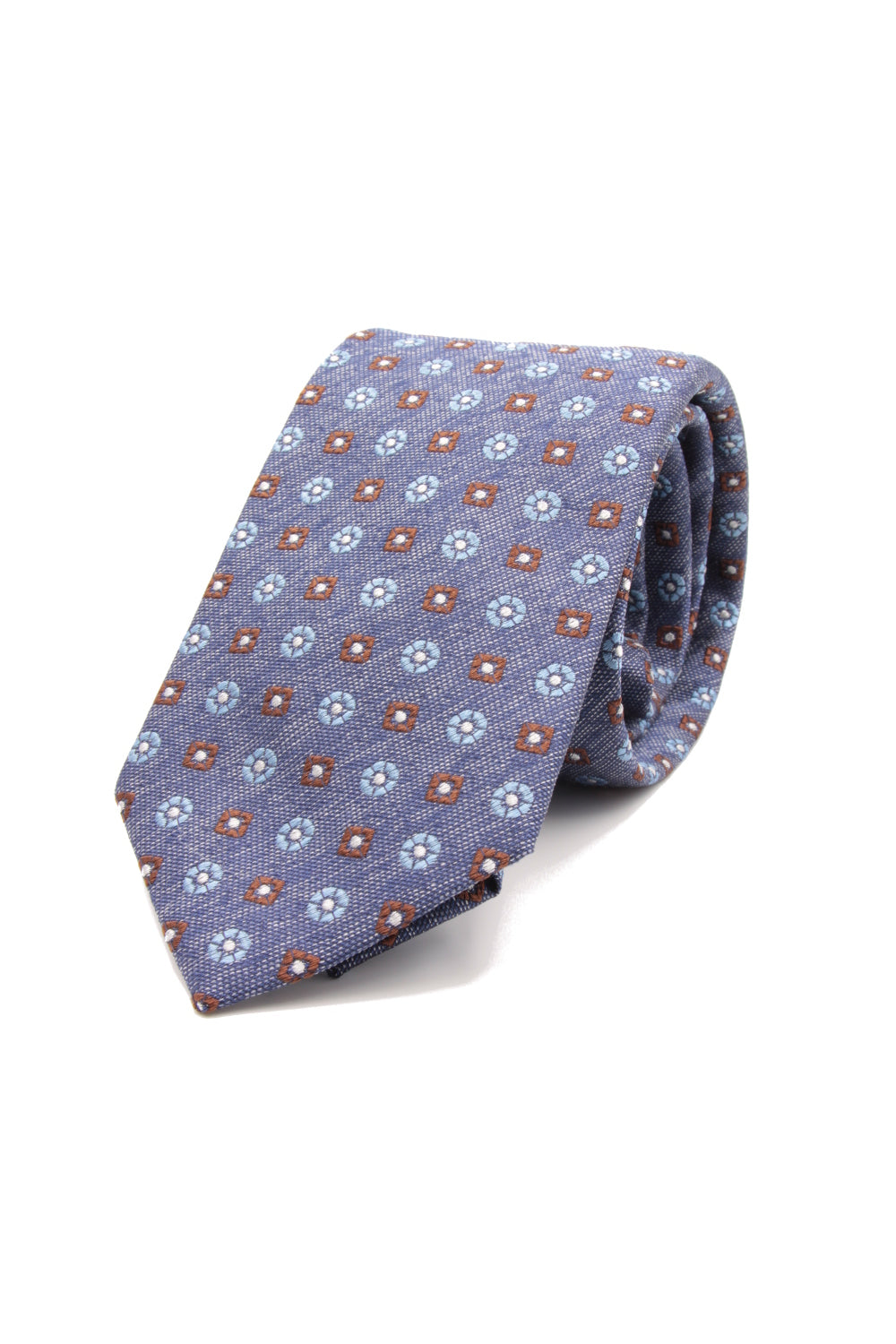 Indigo melange, brown, light blue and white floral spot tie