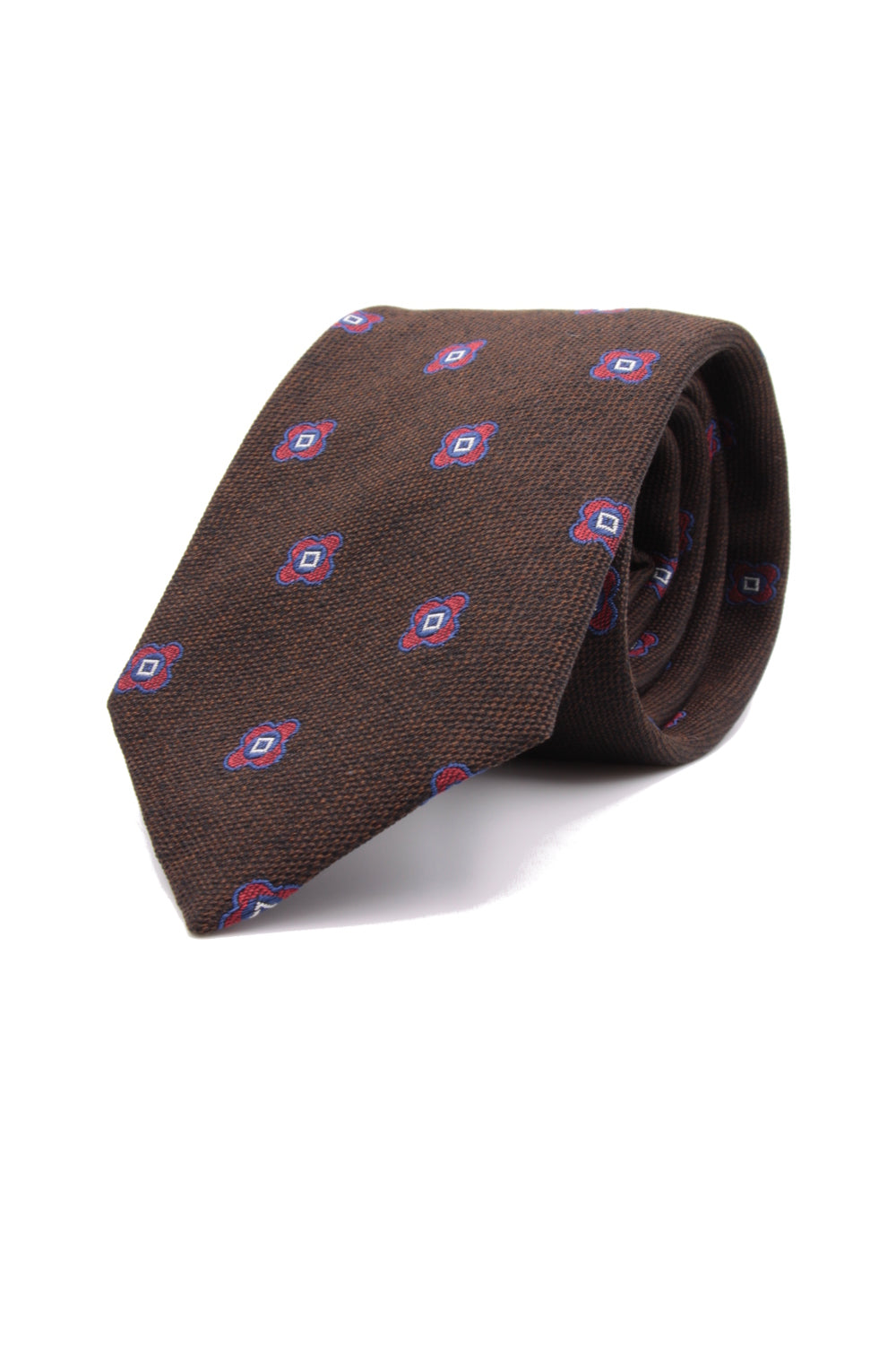 Brown, cherry and navy blue flower tie