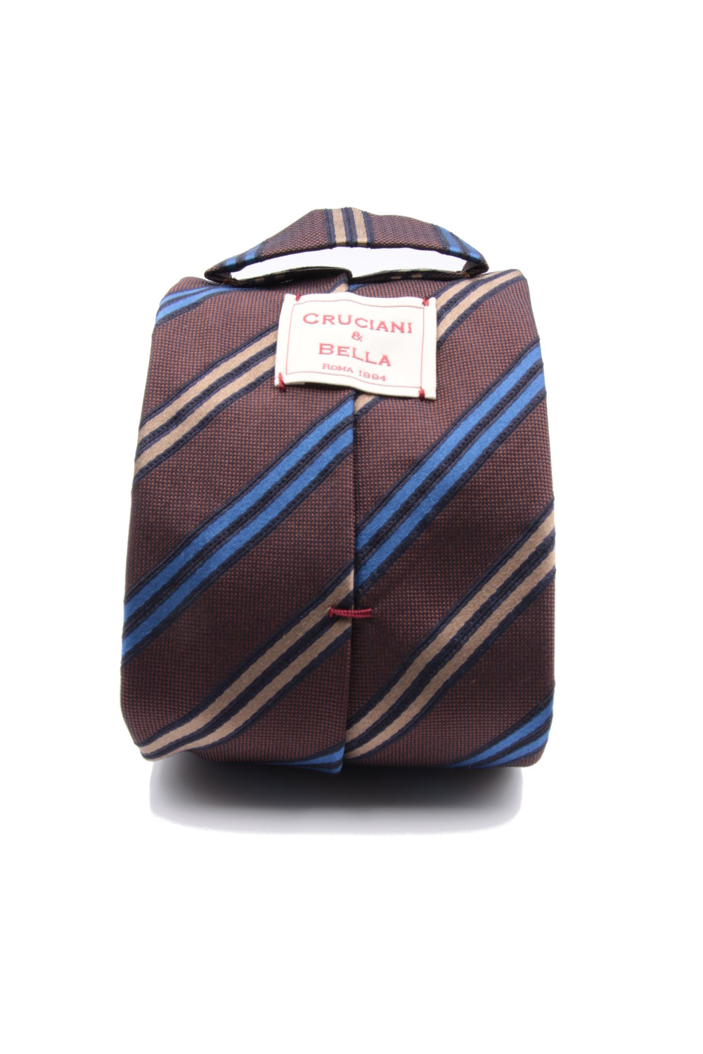 Brown, royal blue and light brown stripe tie