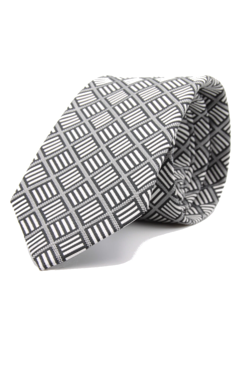 drake's Grey, black and white optical print tie