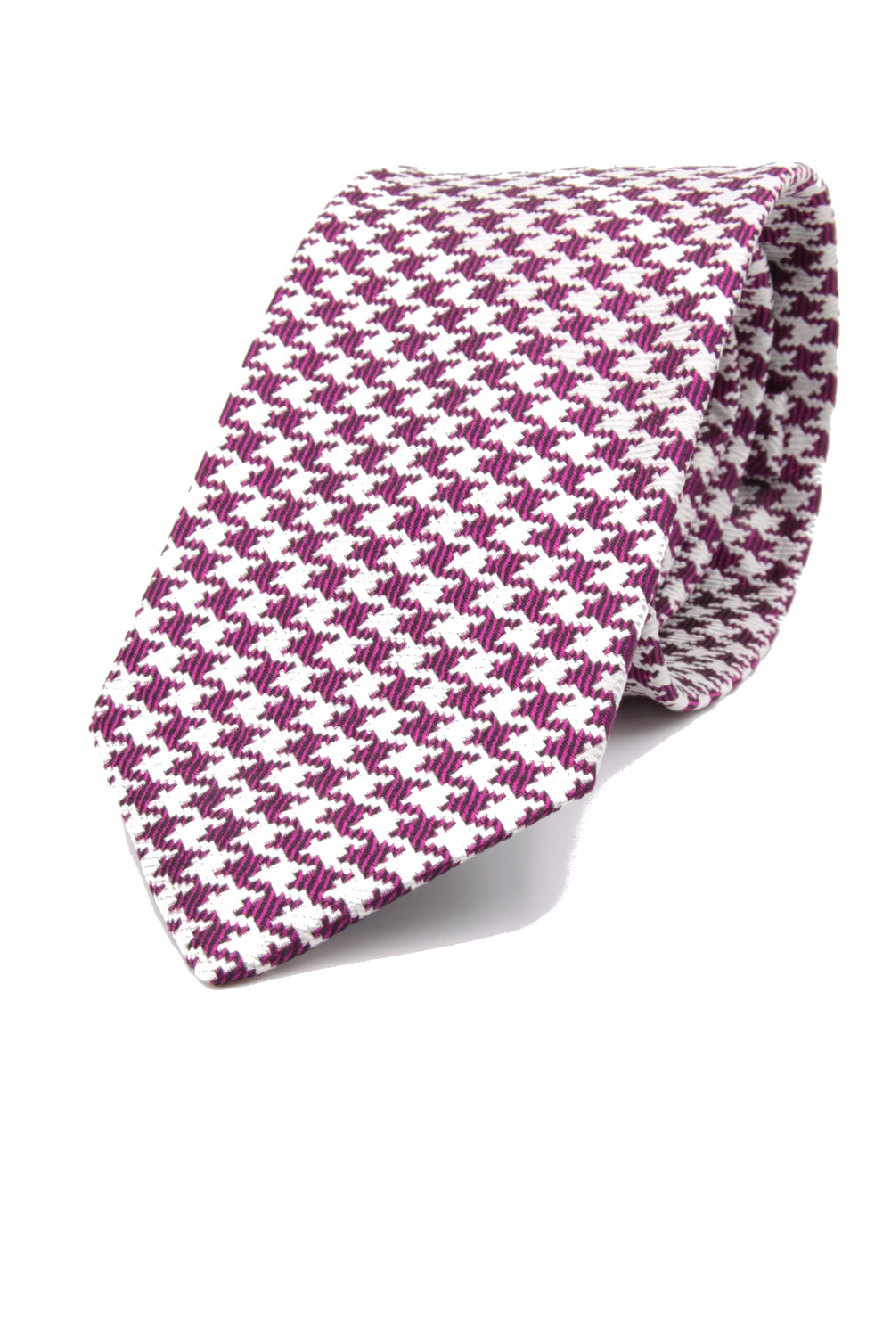 drake's Magenta and white houndstooth tie