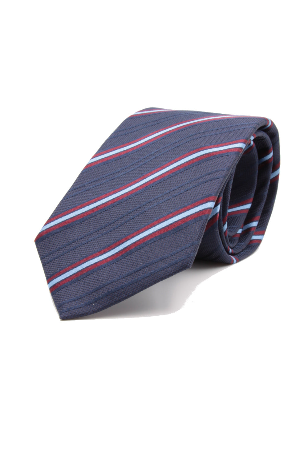 Navy blue, wine, light blue and deep blue stripe tie