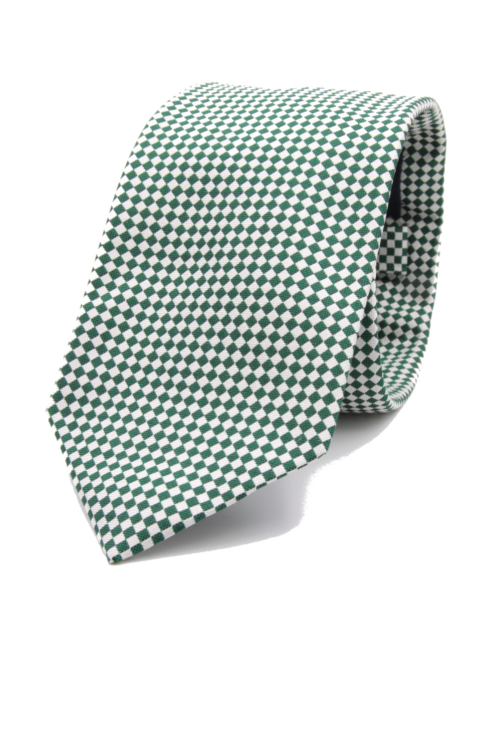 drake's Emeral green and white optical tie