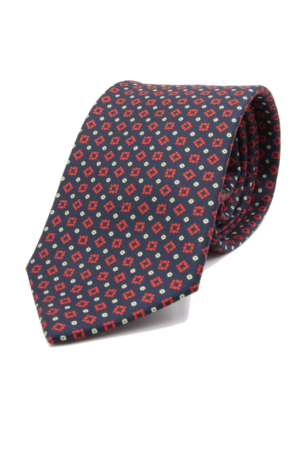 drake's Dark blue, red medallion and white dots tie