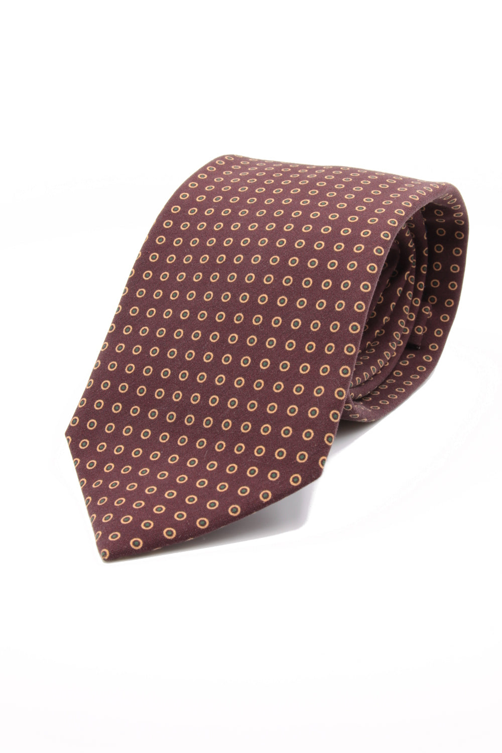 drake's Rust, orange and green dots tie