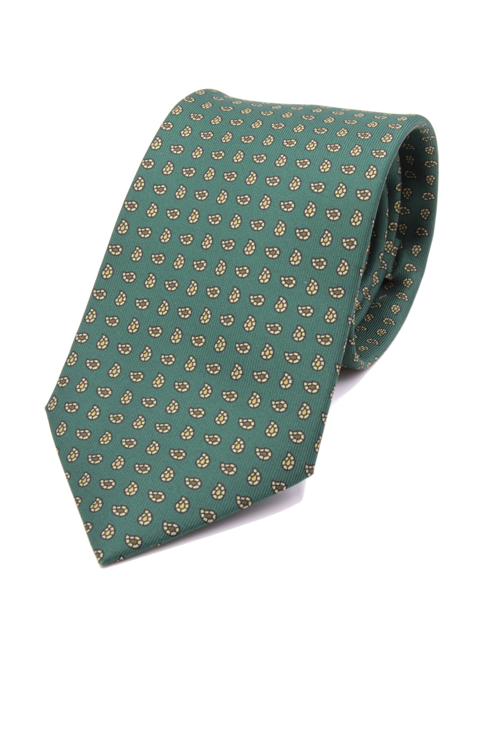 drake's Green, light yellow and brown print tie