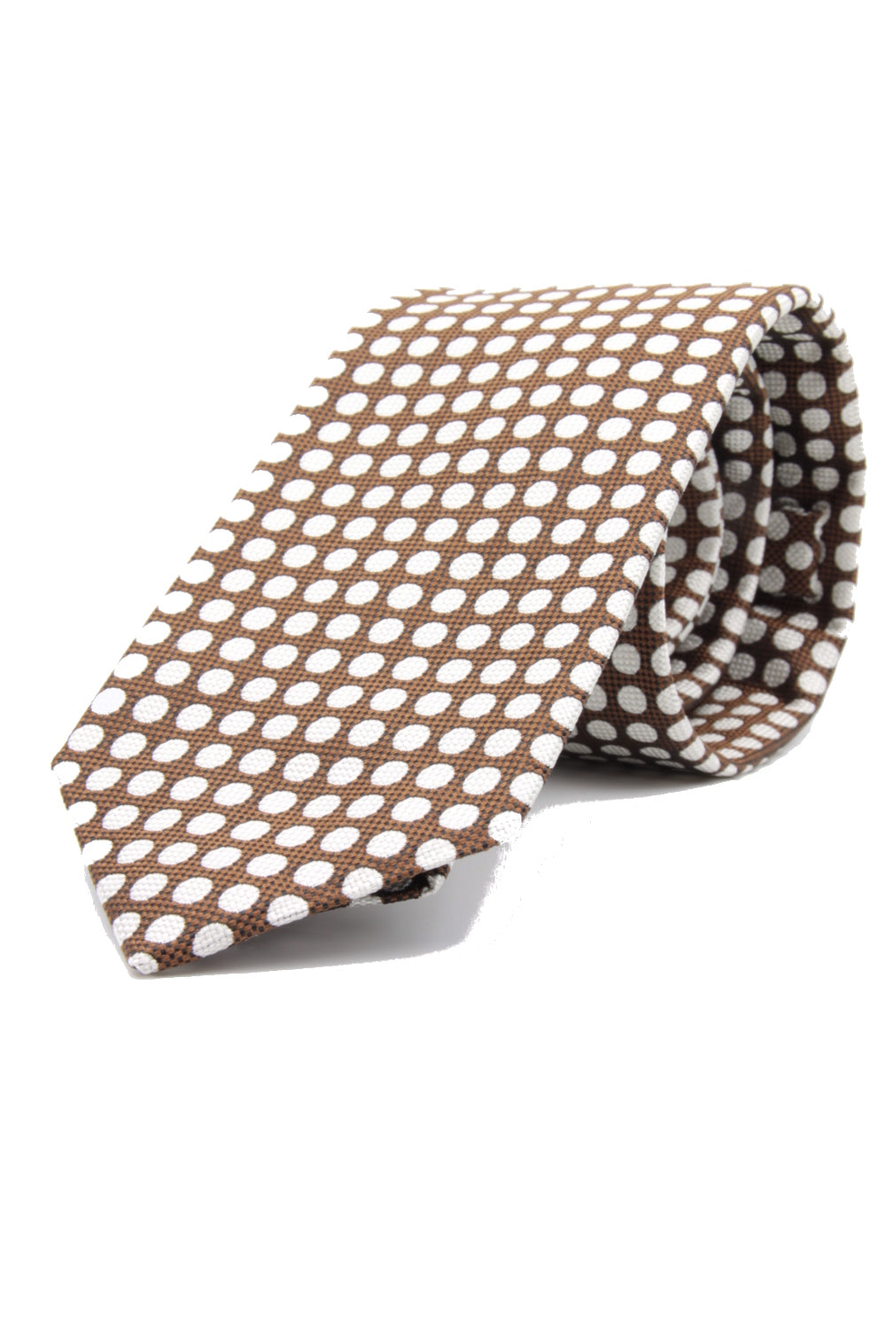 drake's Churchil's  spot brown and white tie