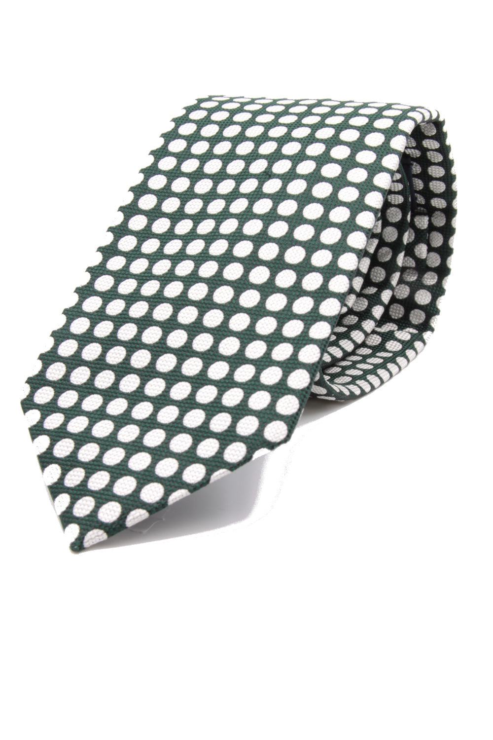 drake's Churchill's spot dark green and white tie