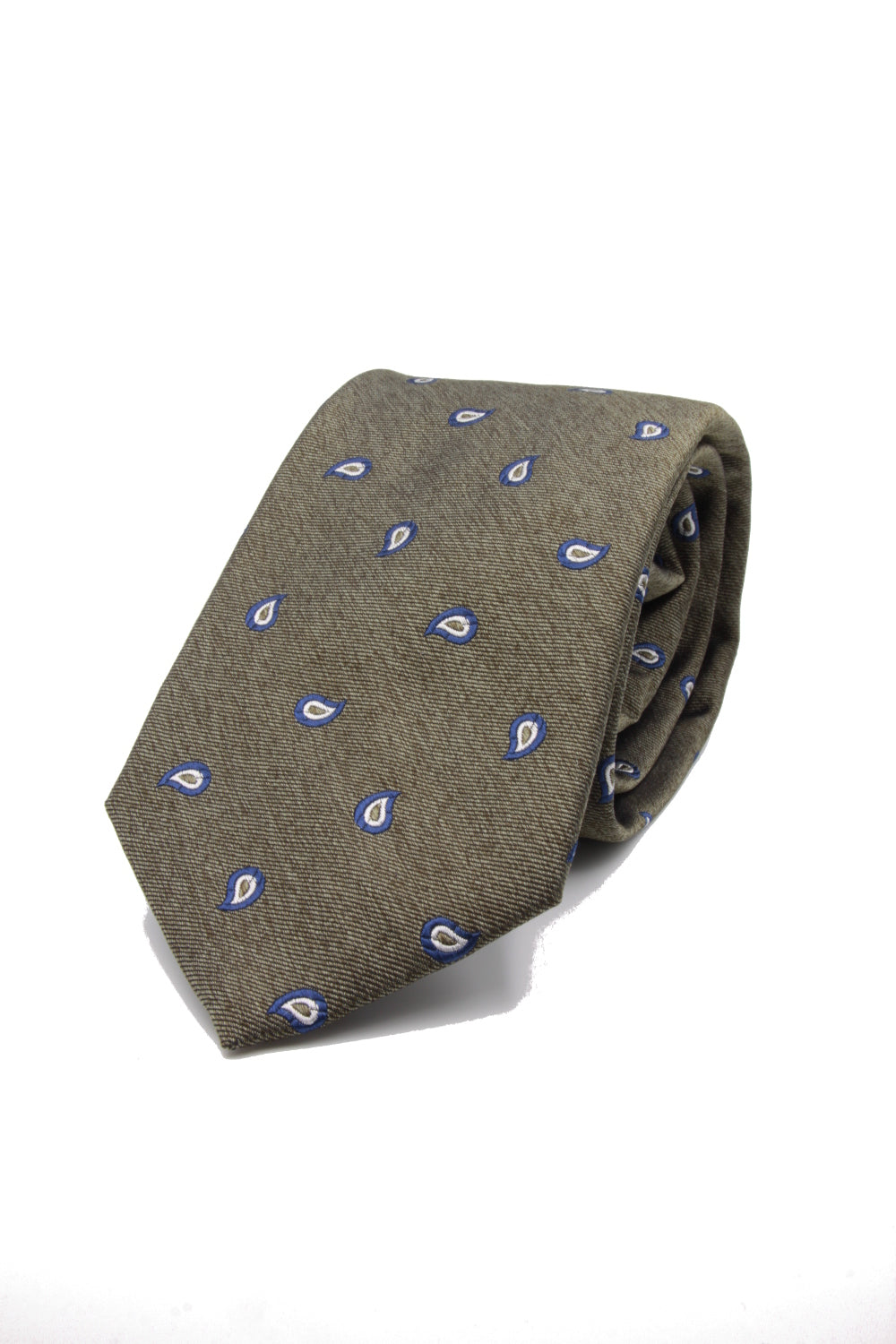 Olive green, blue and white paisley tie