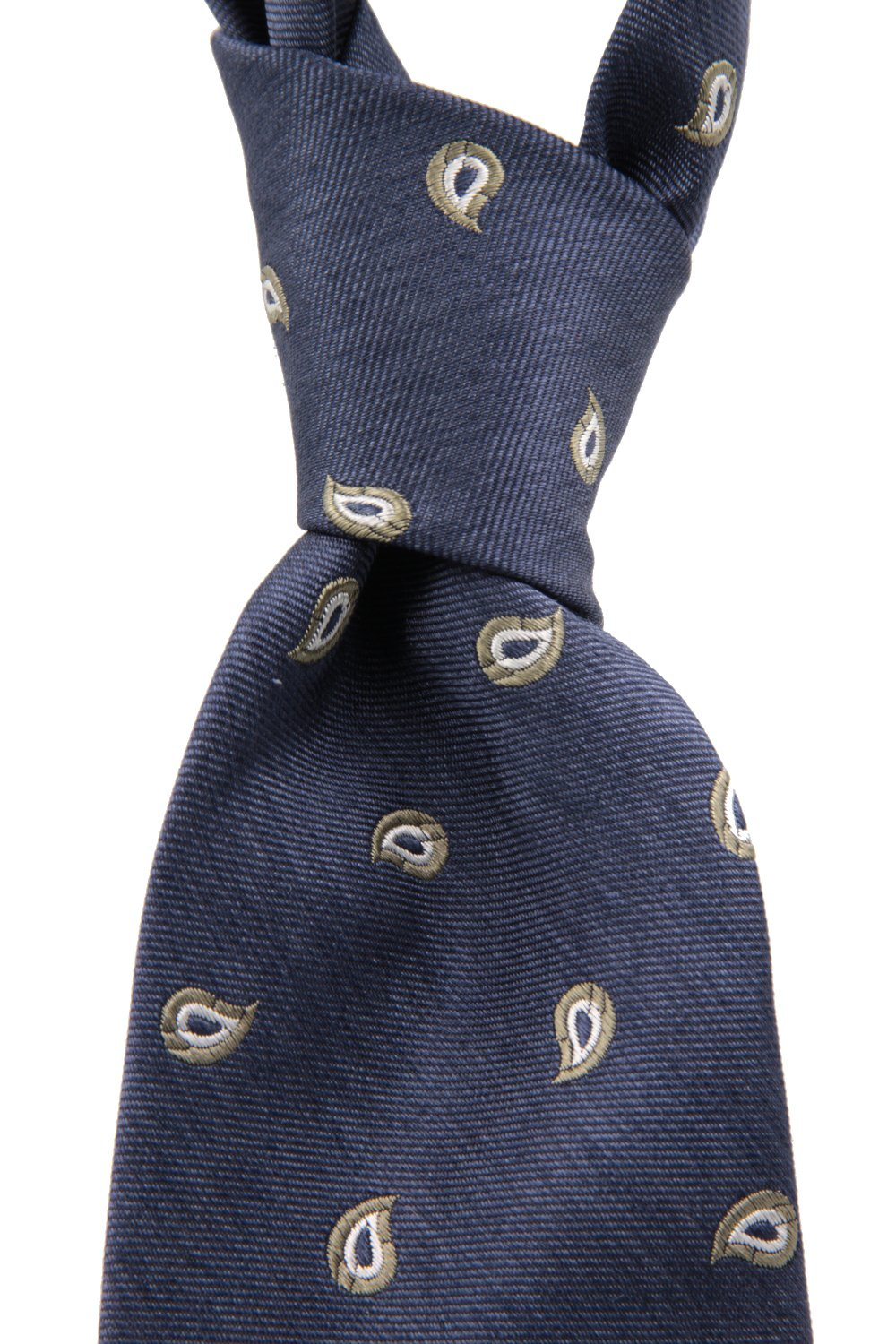 Royal blue, white and olive green paisley tie