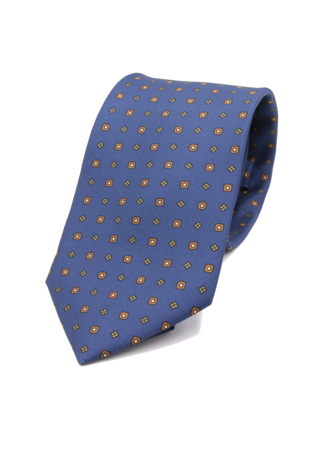 drake's Royal blue, rust, olive green and beige print tie