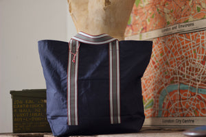 Noodles - Navy dry waxed ripstop cotton - Grey handles tote bag