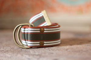 Noodles - D-Ring Ribbon Belt - Rust Orange/Green/Off White/Grey
