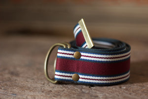 Noodles - D-Ring Ribbon Belt - Red wine/Off White/Blue/Grey