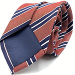 Cruciani & Bella 75% Silk 25% Cotton Jaquard Light Red, Navy Blue and White Stripe Tie Handmade in Italy 8 x 150 cm