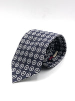 Cruciani & Bella - Silk Jacquard UK - Navy blue, white motif tie #3874