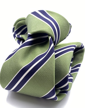 Cruciani & Bella 75% Silk 25% Cotton Jaquard Light Green, Navy Blue and White Stripe Tie Handmade in Italy 8 x 150 cm