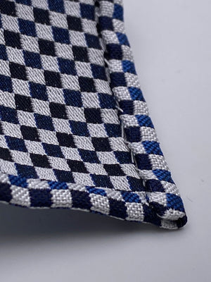 Cruciani & Bella - Woven Jacquard Silk - Dark Blue and Royal Blue Optical Unlined Tie #0144