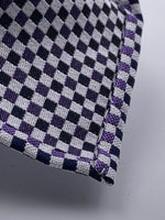 Cruciani & Bella - Woven Jacquard Silk - Dark Blue and Purple Optical Unlined Tie #0147