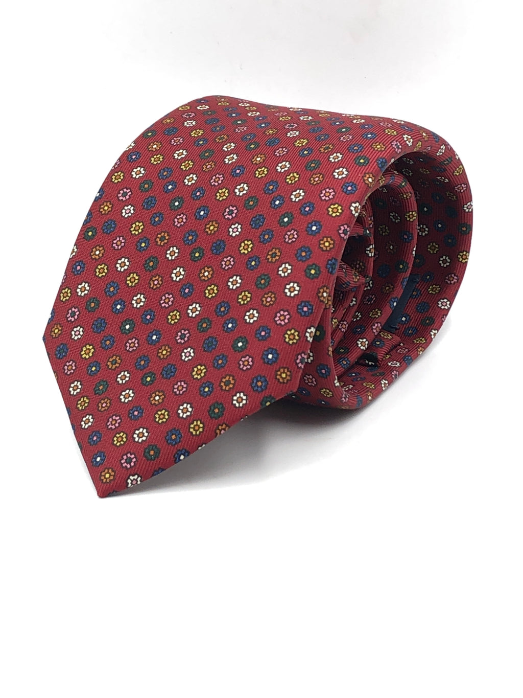 Drake's - 36 oz - Printed Silk - Burgundy, pink, white, blue and green flower motif tie #2918