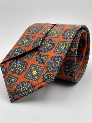 Cruciani & Bella - Printed Madder Silk - Orange, Green and Sand, Medallions Tie #0168