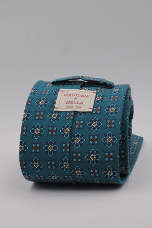 Cruciani & Bella - Printed Madder Silk - Blue Denim, Brown and Yellow Motif Tie #0165