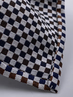 Cruciani & Bella - Woven Jacquard Silk - Dark Blue and Brown Optical Unlined Tie #0145