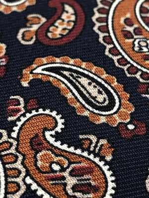 Holliday & Brown for Cruciani & Bella 100% printed Silk Self tipped Navy blue, brown and burgundy paisley  tie Handmade in Italy 8 cm x 150 cm