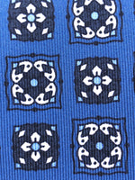 Blue navy, white and blue print tie