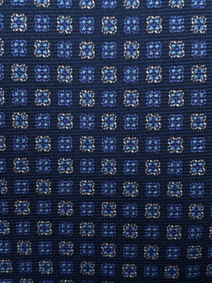 Cruciani & Bella 100% Printed Silk Italian Fabric Self Tipped Classic Blue with light blue and sky Motif tie Handmade in Rome, Italy. 8 x 150 cm